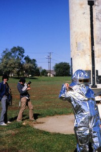 Randy Mason and Rusty Laushman on the job with me in the silver suit.